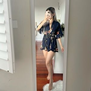 Navy Kimono Sleeve Belted Playsuit Romper size 8
